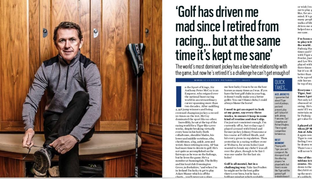 Sir Anthony McCoy features in My Life In Golf Magazine