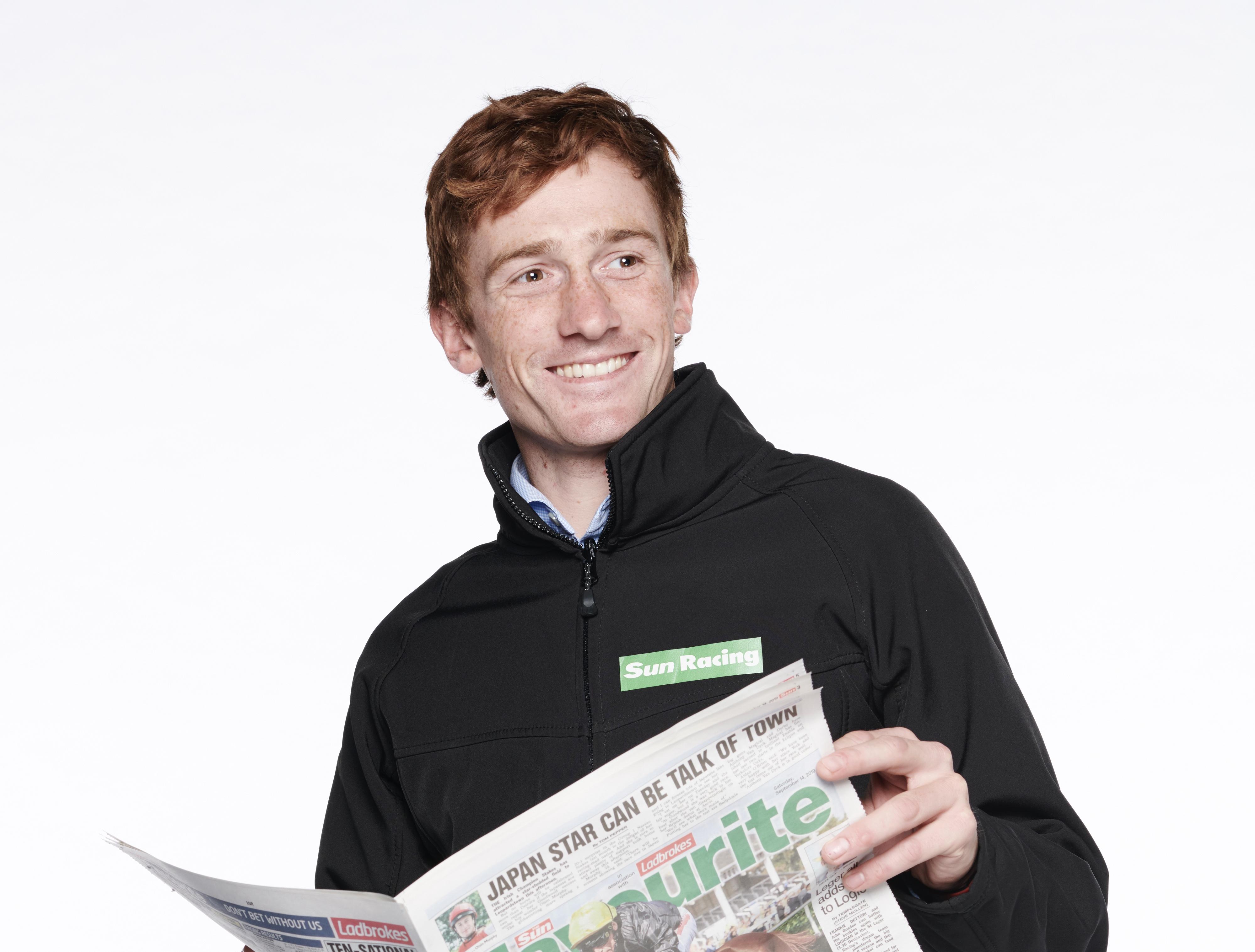 Sam Twiston-Davies. Copyright STEWART WILLIAMS 07956 568150 THE SUN. SUN RACING. Jockey Sam Twiston-Davies. New Sun Racing ambassador Sam Twiston-Davies 19/9/19